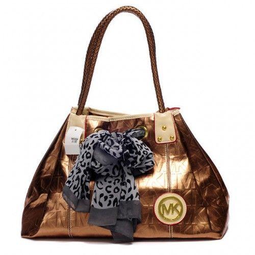 Michael Kors Scarf Jacquard Large Bronze Shoulder Bags