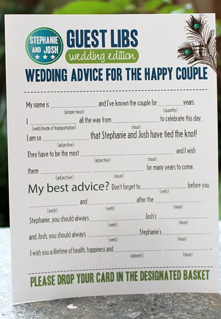 wedding madlib...I love the idea but I would have to play with the format and design.