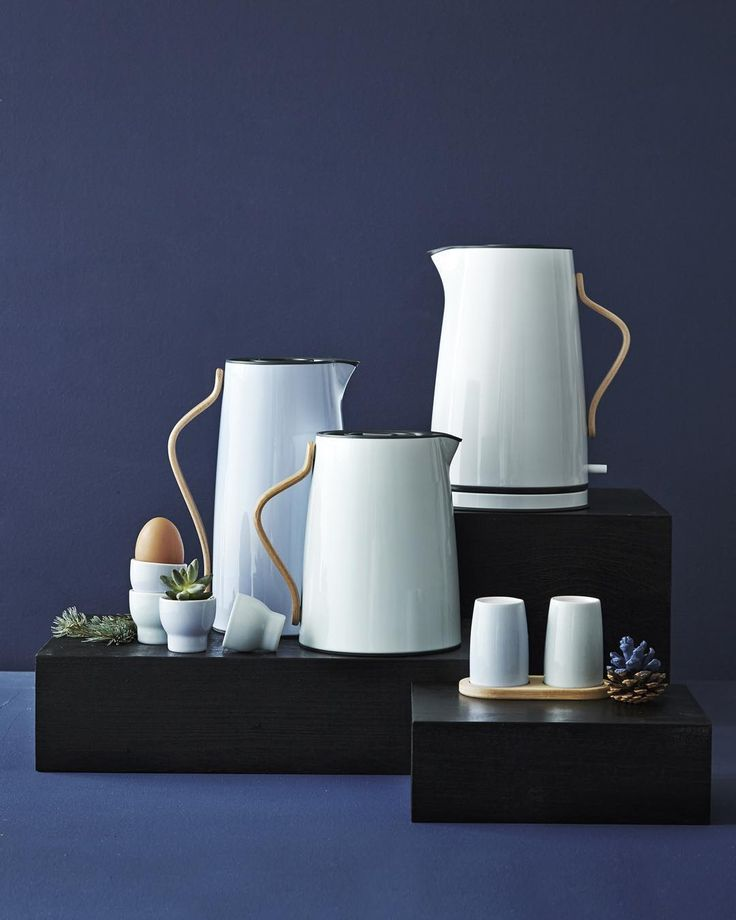 Set the table with the new design classic Emma in blue shades by Stelton.