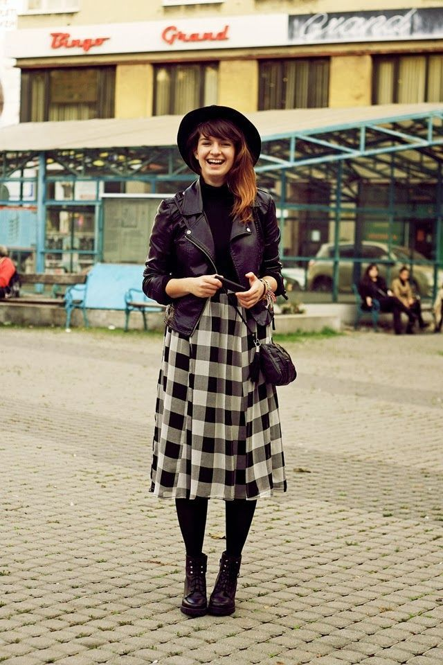 black and white gingham skirt. charming outfit.