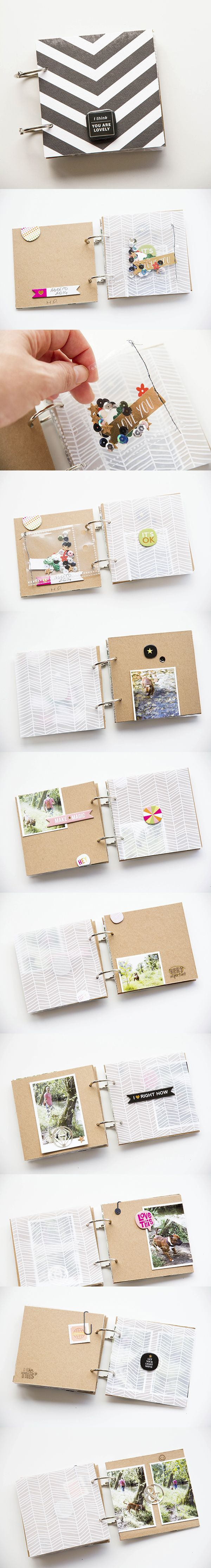 Mini scrapbook albums are a great way to build a page around a single photo!  Use chipboard as the base of each page and adhere your cardstock onto it. Always use a thin layer of liquid glue so your paper does not bubble - we love Mod Podge!  Find chipboa