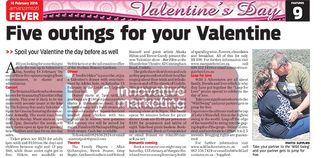 Thanks to Amanzimtoti Fever for featuring 2 of our client's Valentine's Day promos this week in the paper! Get your copy to read more!