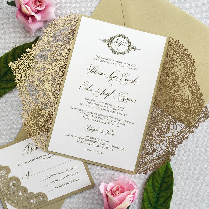 laser cut wedding invites canada%0A Victoria Gold Chantilly lace laser Cut Invitation Suite