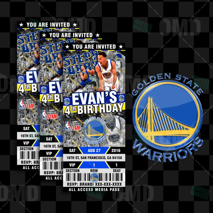 Custom Golden State Warriors Ticket Style Party Invites great for Sports Fans of all ages, Birthdays, Save-the-Date, Baby Shower or Wedding Invitations! #sportsinvites