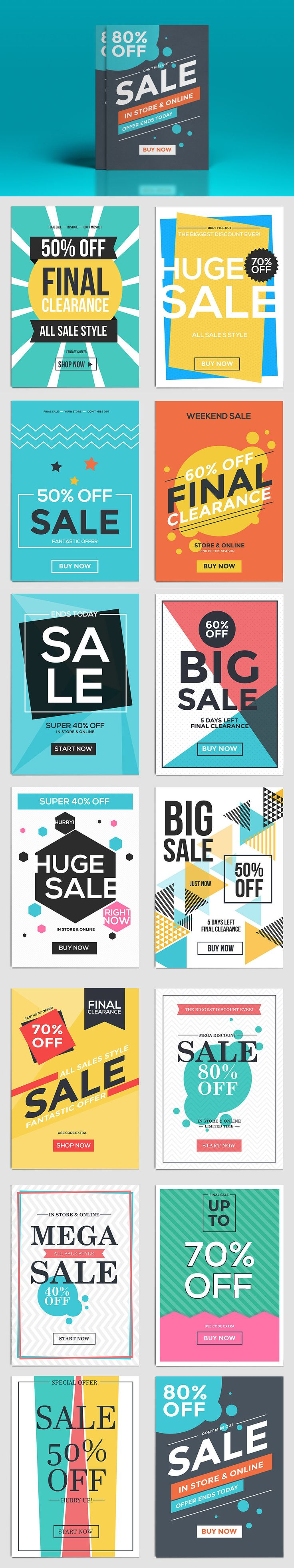 Flat Design Sale Flyer Template AI, EPS