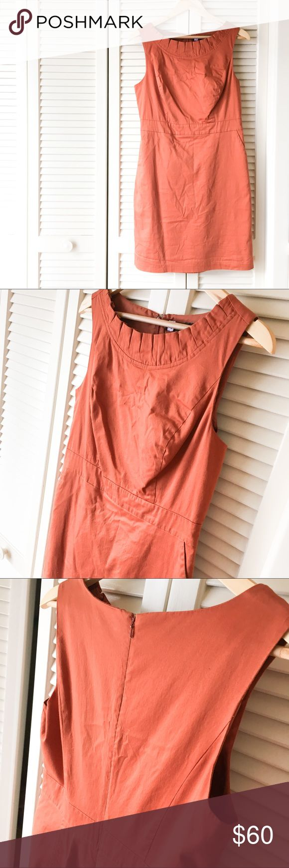 The Limited Burnt Orange Dress Sleeveless Pockets Excellent condition, worn once for a wedding. Flattering neckline detail with pockets! Quality The Limited material with zip back and clasp top. Super cute, very comfortable - Just does not fit anymore. Slightly wrinkled from being dry cleaned and stored for so long. The Limited Dresses Midi