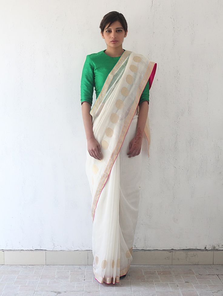 Ivory Deep Pink Golden Chanderi & Zari Marigold #Saree By Raw Mango. Available Online at Jaypore.com.