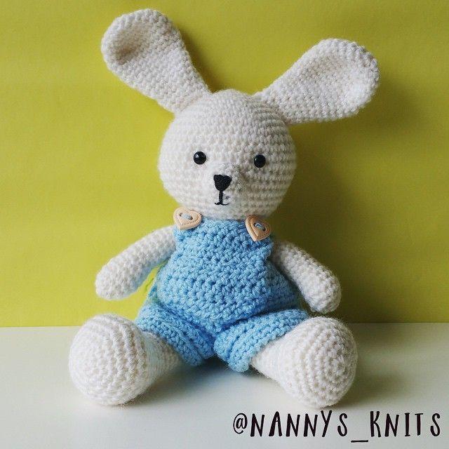 Bunny in overalls #amigurumi #handmade #crochet #bunny #crochetbunny