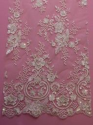 Show more information on Ivory Sequinned & Embroidered Lace - Shelley