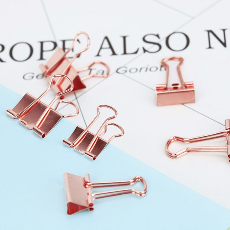 TUTU 6 pz/lotto Colore Solido Rose Gold Metal Clip Legante Note Lettera Clip di Carta Forniture Per Ufficio H0059