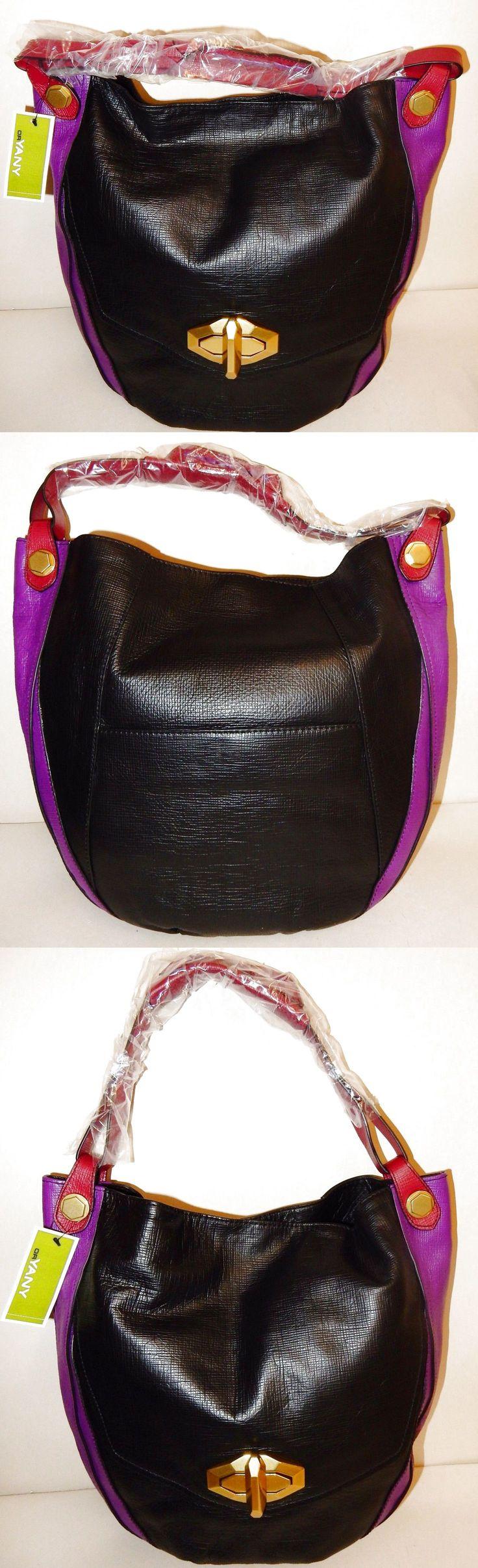 New orYANY Julia Italian Diamond Leather Hobo Bag Black Multi $159.99