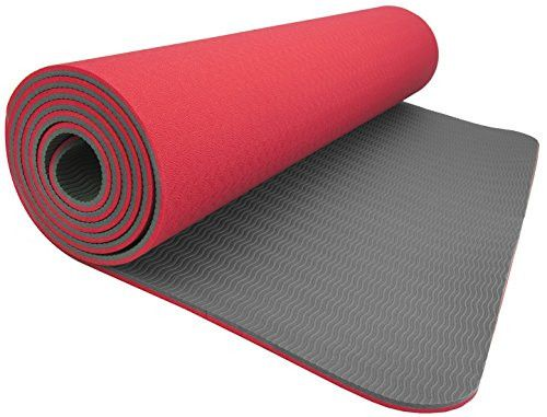 Wacces TPE Anti-tear Non-Slip Reversible Yoga Mat for Pilates Workout Fitness with Carrying Strap