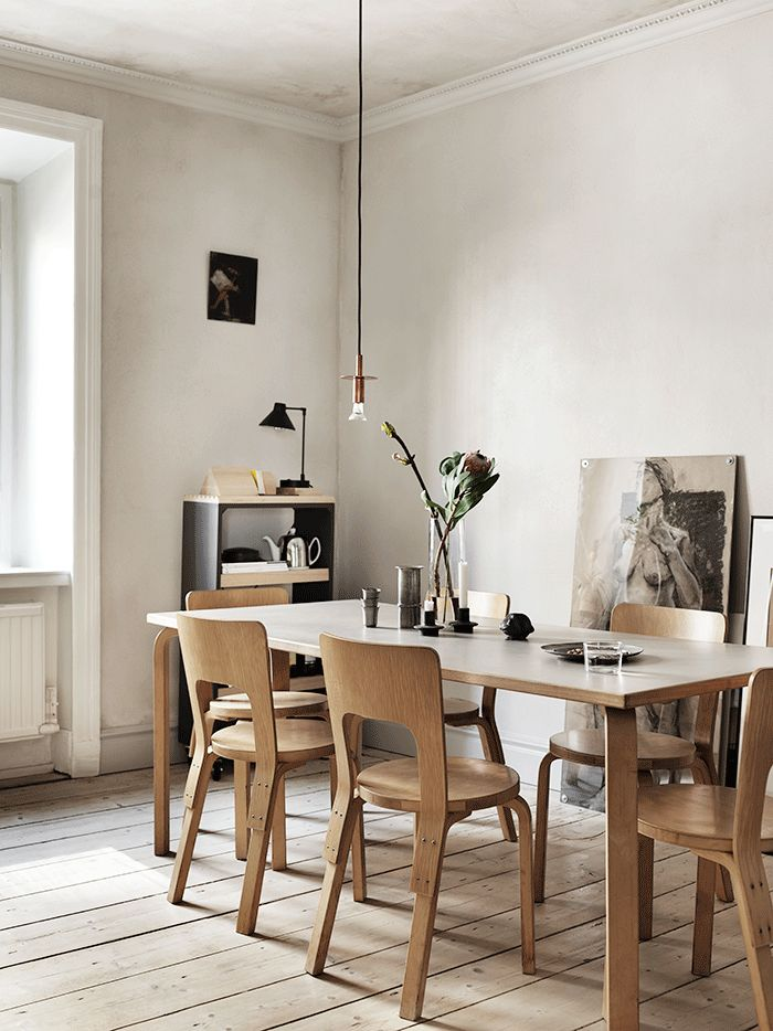 Simple Scandi kitchen featuring the unusual yet characteristic 65 dining chair, designed by Finnish master cratfman Alvar Alto for Artek: https://www.utilitydesign.co.uk/artek-65-chair