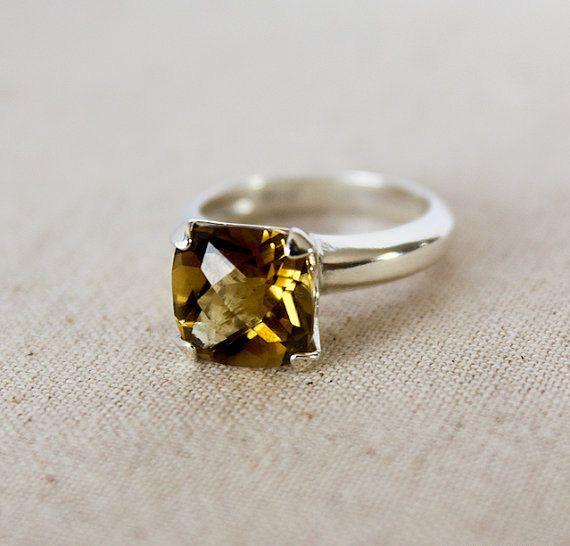 Cushion Cut Topaz Ring  Gold Topaz Solitaire by karioi on Etsy, $225.00 http://etsy.com/shop/karioi