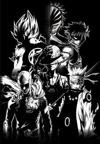 Resultado de imagen para goku, ichigo, naruto, natsu y luffy