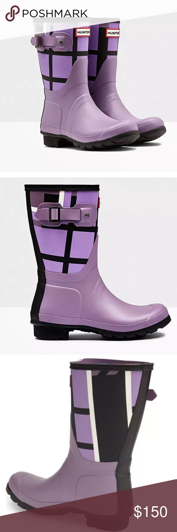 """HUNTER ORIGINAL• TARTAN BOOT 🎀HUNTER WOMENS ORIGINAL TARTAN  RUBBER RAIN SNOW BOOTS SHORT PURPLE PLAID* 💗NO TRADES💗                      AUTHENTIC  VERY RARE -SIZE 7 -brand new -never used -NWOT -color:TARTAN OURPLE PLAID -style:short pull on -buckles -iconic brand -super cute -1"""" heel -10"""" boot shaft -15"""" calf circumference  -material:canvas and rubber upper textile lining -rubber sole( one looks a little dirty due to lighting but it's not) -comes from a pet free and smoke free home…"""