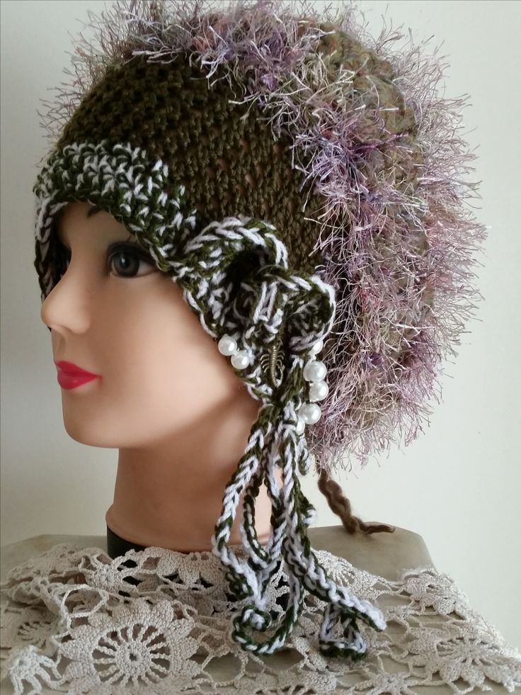 $45 crochet slouch 1920 hat  with pearls