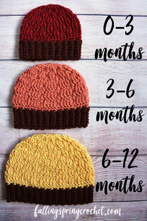 b30bffe48f0 Falling Spring Crochet Fall Baby Beanie Crochet Pattern Size 0-12 Months