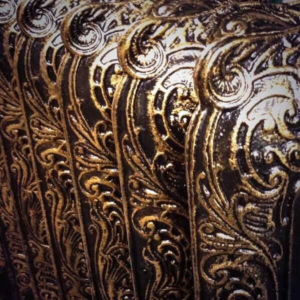 Black gold patterned hand made coating