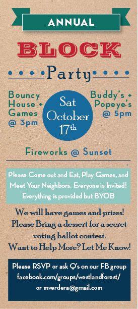 Block Party Invites designed by m+j design bureau