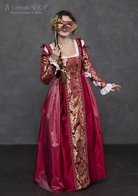 Renaissance Wein Farbe Kleid italienische Mode Anfang des 16.