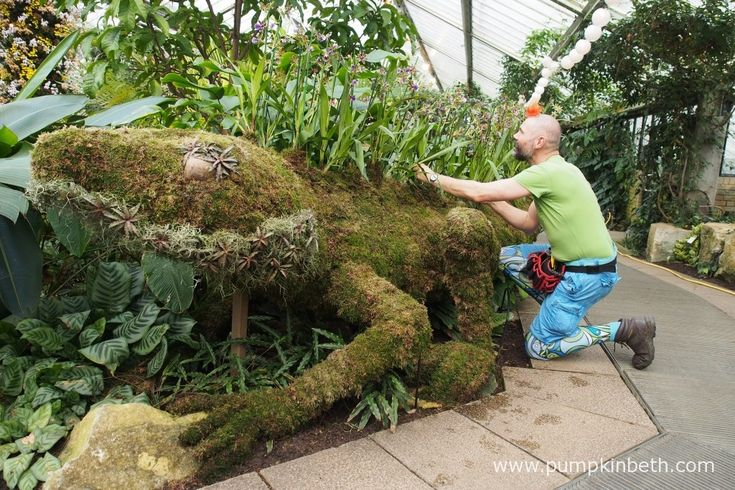 Lorenzo the Water Dragon was crafted from moss, wire, and Zygopetalum orchids, by Master Florist Henck Röling, for the Thailand themed Orchid Festival at the Royal Botanic Gardens, Kew.