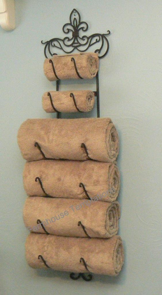 Fleur De Lis Bronze Towel Rack Iron Holder Decor Wall Bath