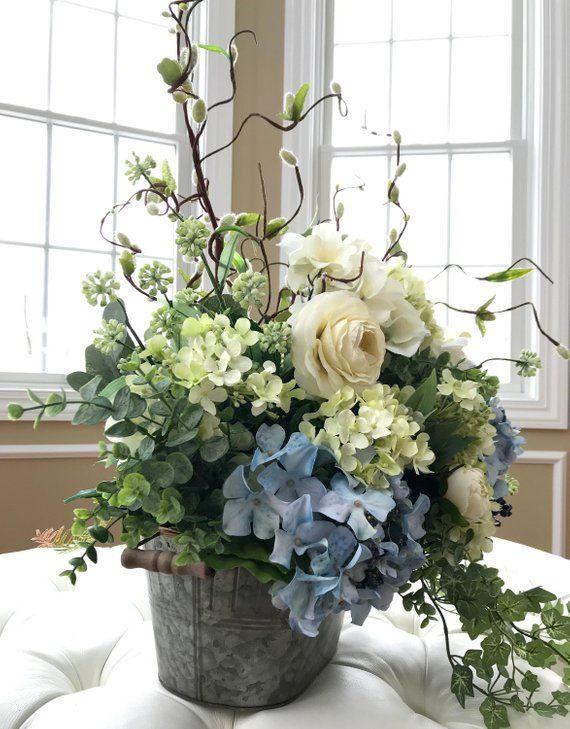 Rustic Home Decofarm House Floral Centerpiecerustic Home Etsy Hydrangea Arrangements Flower Arrangements Silk Flower Arrangements