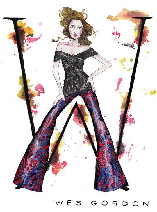 """Projeto """"The ABC's of Fashion"""", que com belas ilustrações inspiradas nas letras do alfabeto e em coleções que marcaram época, faz uma homenagem a alguns dos principais nomes da moda de todos os tempos - da Natalia Jheté, ilustradora americana."""