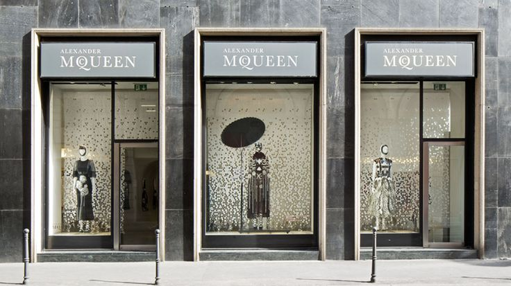 Blossom Rain. A bespoke laser-cut textile created by Kvadrat in collaboration with Studio Wieki Somers was used for the installation at the Alexander McQueen boutique in Milan