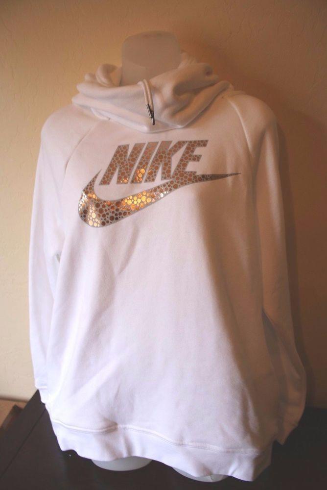 Nike Women's White Rose Gold Swish Sweatshirt Rally Funnel Neck Hoodie - XL NEW #Nike #ShirtsTops