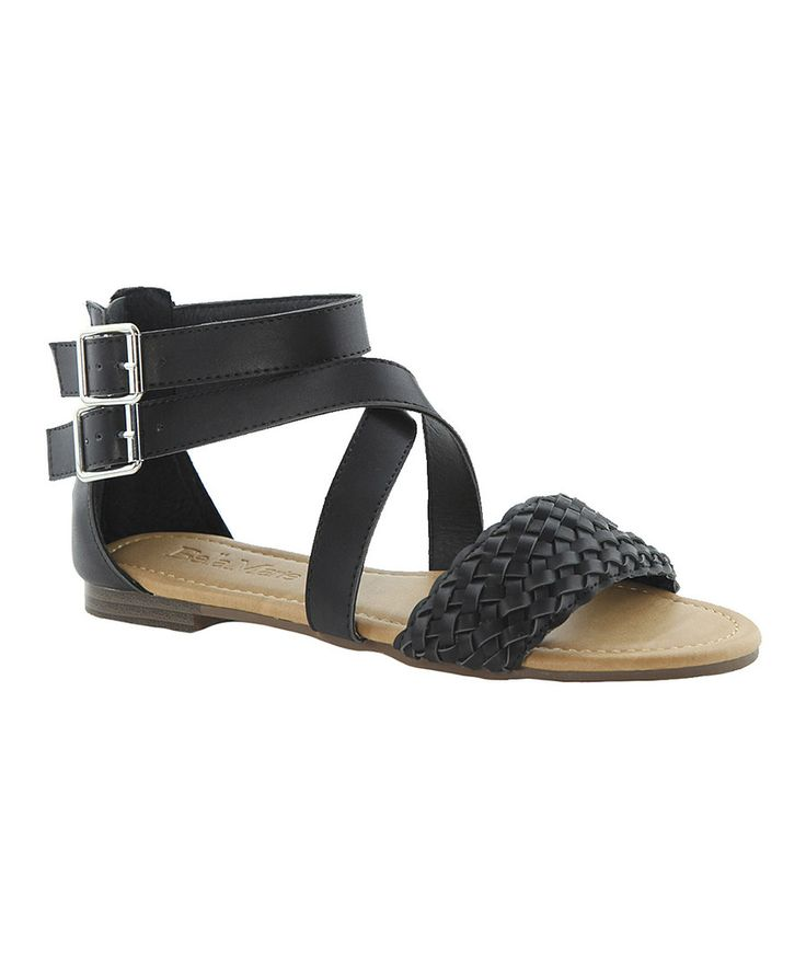 Look at this Anna Shoes Black Braided Cassie Sandal on #zulily today!