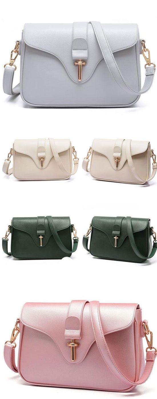 Elegant Simple OL Style Metal Lock Flap Girl's PU Shoulder Bag for big sale! #shoulder #Bag #Lady #fashion