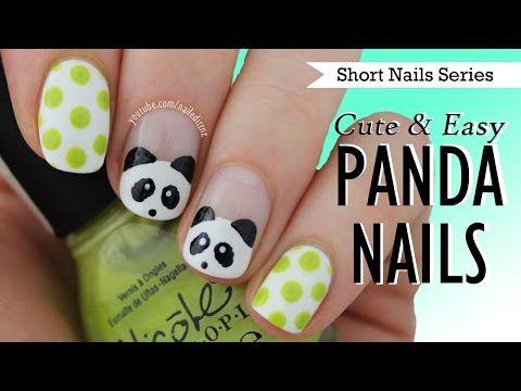 Cute & Easy Panda Nail Art | Nail Art for Short Nails #9 - YouTube