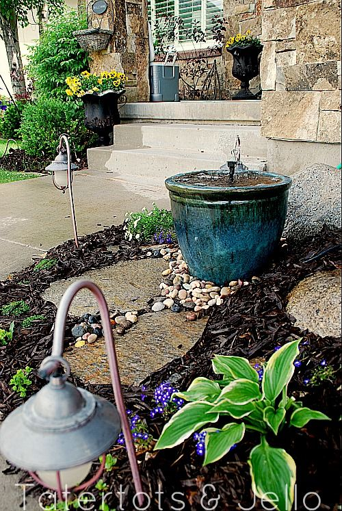DIY recirculating fountain - doing this!: Tutorials, Diy'S, Fountain Tutorial, Front Yard, Recirculating Fountain, Front Entry, Outdoor Spaces, Diy Recirculating, Entry Fountain