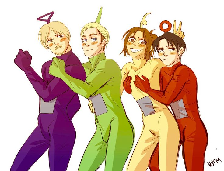 Mike as Tinky Winky x Erwin as Dipsy and Hanji as Laa-laa x Levi as Po. Teletubbies x SnK