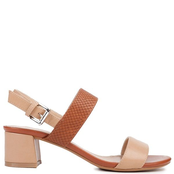 Camel mid-high heel sandal with block heel. Features with tobacco snakeskin embossed motive detail band. Fastens with adjustable ankle strap.