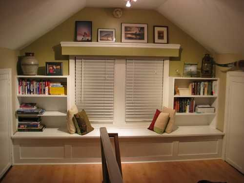 "From the website, ""The huge master suite is upstairs and comprises the entire second floor.  At the top of the stairs is a built-in window seat (seen below – the seats open to a cedar-lined storage area underneath) and open shelving on either side.  There is attic access for storage on both sides of the window seat. """