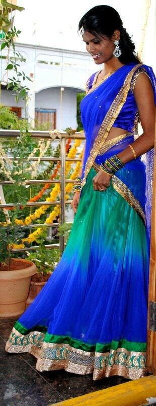 Peacock blue & sea green half saree