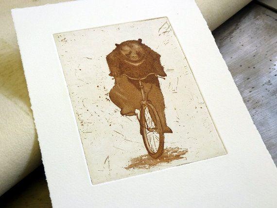 Bear on a Bike  etching print by linocutboy on Etsy, £35.00