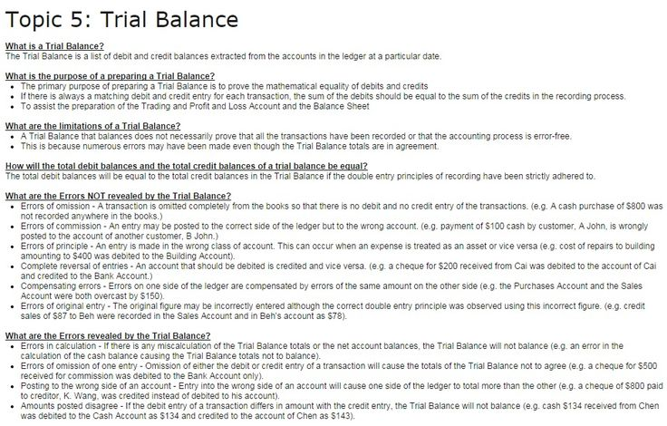 Topic 5 Trial Balance POA Tuition - Revision Notes Pinterest - trail balance sheet