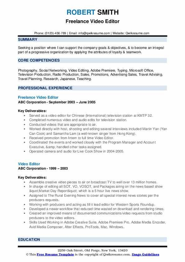 Video Editor Resume Examples Domaregroup Video Resume Resume Template Resume Examples
