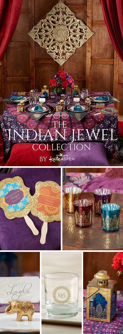Featuring intricately detailed elephant favors and other exotic Indian decor in a jewel tone color scheme that features gold, ruby red, and amethyst, these jewel tone wedding decor pieces are an exotic way to add color to your wedding theme.