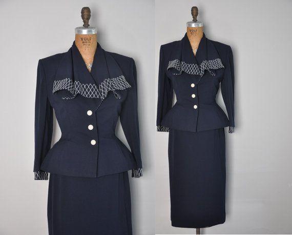 1940s rare vintage suit // 40s designer Lilli by simplicityisbliss