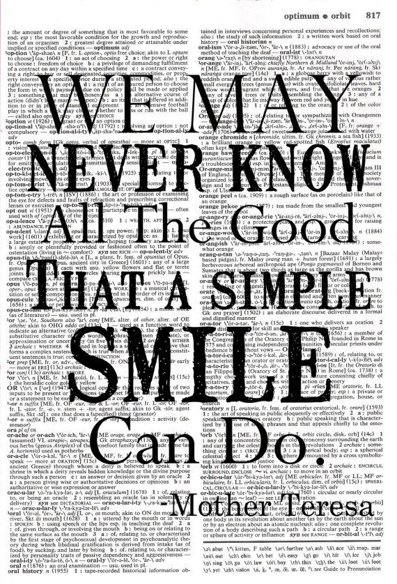 Smile - Mother Teresa Quote - Upcycled Dictionary Print ...