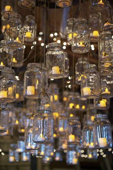 DIY: hanging mason jar candle holders.   This would be beautiful for a summer backyard dinner.