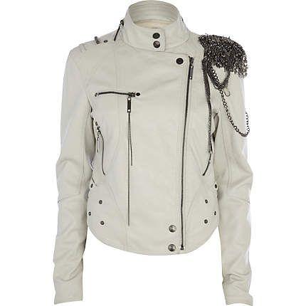 : Chain Biker, White Leather Jackets, Biker Jackets, Style, Non Leather Jackets, Chains, Leather Coats