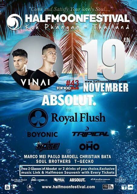 Thailand Calling.!! Next Thursday , 19 November catch me playing for the very first time at Halfmoon Festival • Koh Phangan