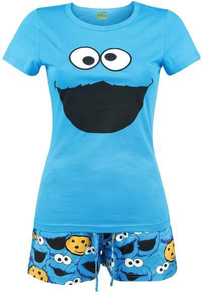 """Pigiama """"Cookie Monster"""" di #SesameStreet composto da T-Shirt azzurra con stampa sul davanti e pantaloncini con stampa allover."""