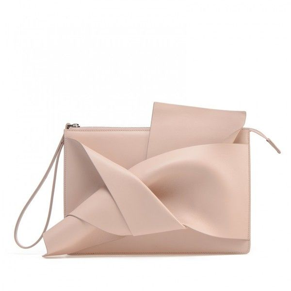 Nude calf leather clutch with the iconic bow on front ($480) ❤ liked on Polyvore featuring bags, handbags, clutches, pink handbags, bow handbag, calfskin handbag, pink clutches and pink metallic purse
